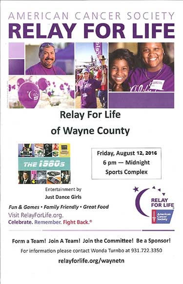 Relay for Life flyer 2016